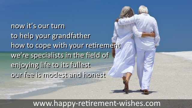 Grandfather and grandmother retirement wishes from grandchildren